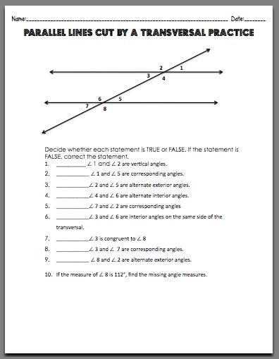 Parallel Lines Transversals Worksheet Worksheets for all ...