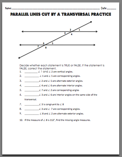 Parallel Lines Transversals Worksheet Worksheets for all ...