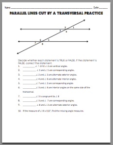 Parallel Lines Cut By A Transversal Worksheet Pdf | Caroldoey
