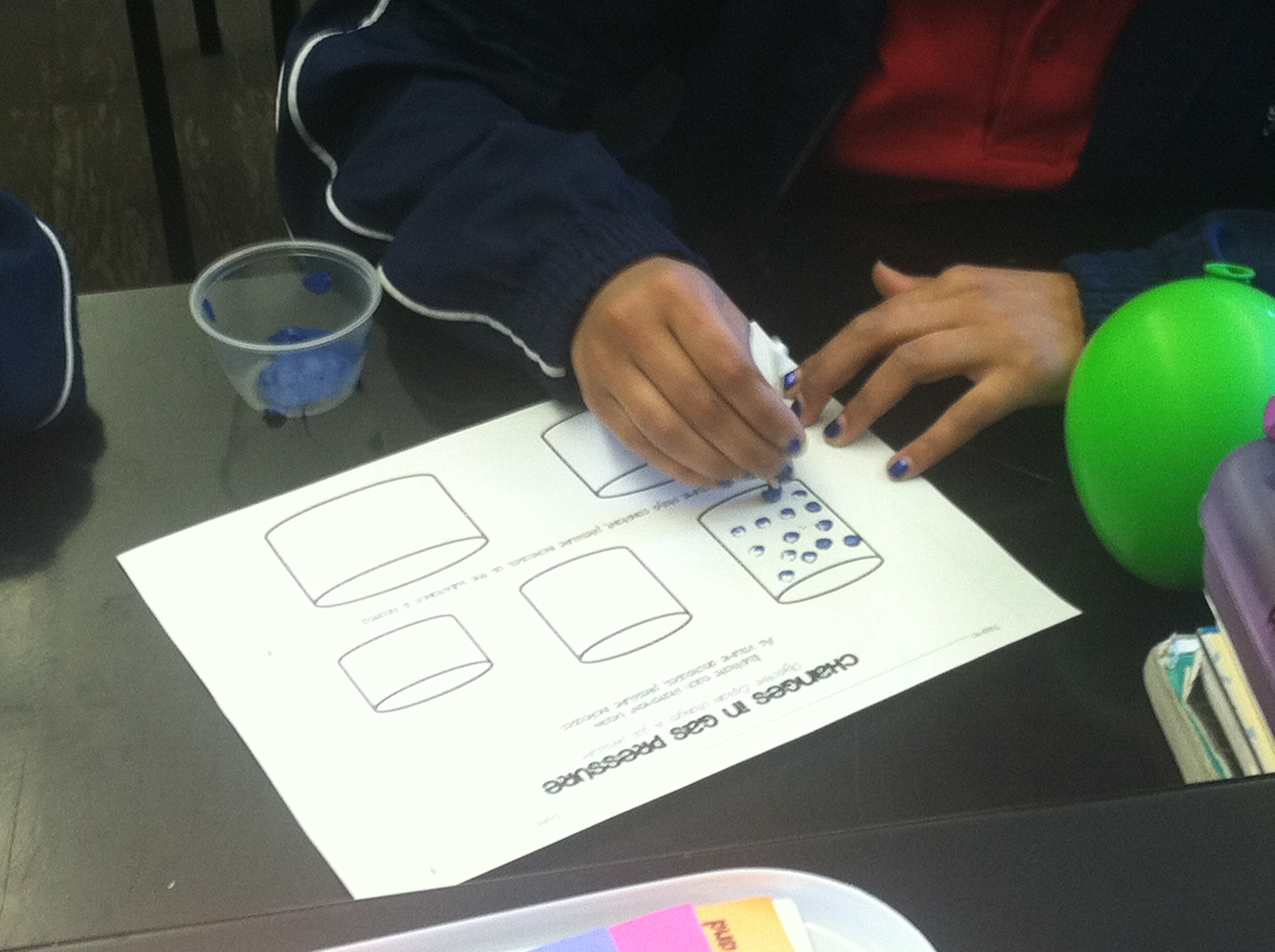 They then painted 25 particles in each of the small cups. This is a good  way for students to visualize the gas particles and why pressure increases.