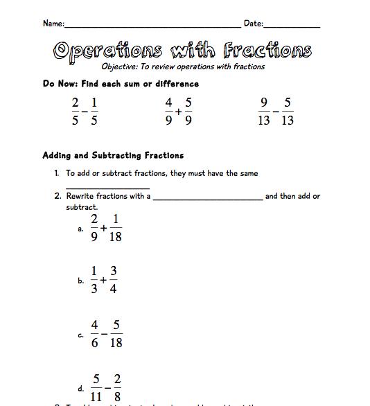 Fraction Operations Worksheet – Fraction Order of Operations Worksheet