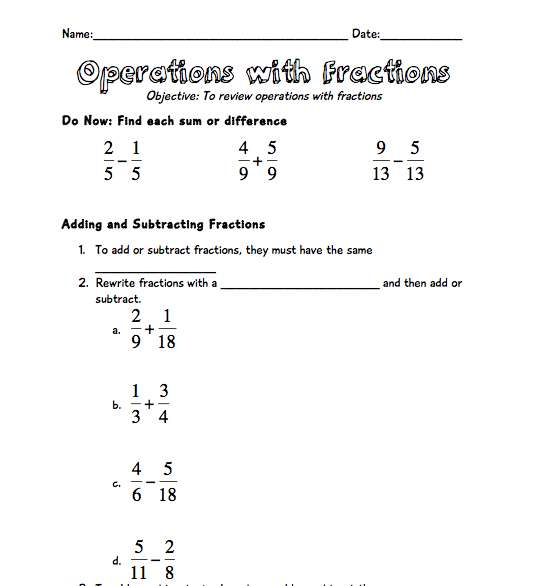 math worksheet : operations with fractions review!!  tothesquareinch : Fraction Bar Worksheet