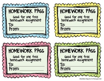 no homework pass printable